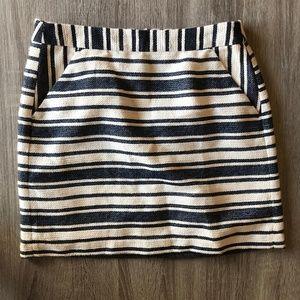 NWT Banana Republic Navy Striped Boucle Skirt